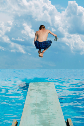 Water sports pictures Wall Art as Canvas, Acrylic or Metal Print Boy jumps into water