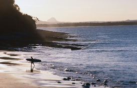 Sports pictures Wall Art as Canvas, Acrylic or Metal Print Surfer walking at Teatree Bay.  Noosa, Sunshine Coast, Queensland, Australia