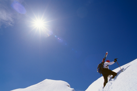 Winter sports pictures Wall Art as Canvas, Acrylic or Metal Print Climber near summit of Steens Mountain.