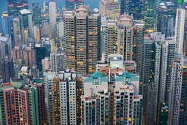Azië Foto's bijv. als canvasfoto of wandfoto achter acrylglas: Apartment buildings in hong kong