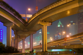 Pictures of Asia Wall Art as Canvas, Acrylic or Metal Print Elevated highway in Shanghai