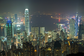 Azië Foto's bijv. als canvasfoto of wandfoto achter acrylglas: Hong Kong cityscape at night