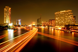 Pictures of Asia Wall Art as Canvas, Acrylic or Metal Print Thailand -  Skyline in Bangkok am Fluss Chao Phraya