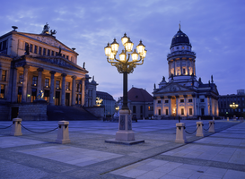 Berlin & Potsdam pictures Wall Art as Canvas, Acrylic or Metal Print the french cathedral on right and berlin schauspielhaus theatre on left at platz der akademie