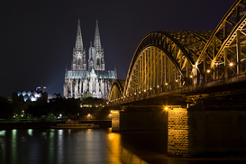 Germany pictures Wall Art as Canvas, Acrylic or Metal Print Bridge and cologne cathedral at night