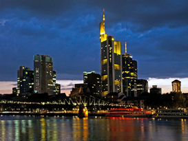 City pictures Wall Art as Canvas, Acrylic or Metal Print Germany Frankfurt downtown Skyline at sunset banking area commerzbank refelctions on the river main