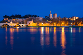 Pictures of Europe Wall Art as Canvas, Acrylic or Metal Print Avignon, France, across the Rhone