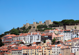 City pictures Wall Art as Canvas, Acrylic or Metal Print Castle of sao jorge in lisbon