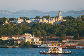 Pictures of Europe Wall Art as Canvas, Acrylic or Metal Print Golden horn and topkapi palace