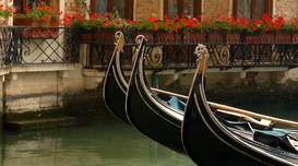Pictures of Europe Wall Art as Canvas, Acrylic or Metal Print Gondolas in a side street canal in Venice, Italy