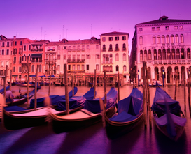 Pictures of Europe Wall Art as Canvas, Acrylic or Metal Print Gondolas on the Grand Canal Venice Italy