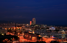 Pictures of Europe Wall Art as Canvas, Acrylic or Metal Print Harbour at night, Barcelona, Spain