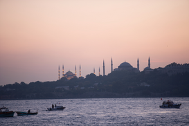 Pictures of Europe Wall Art as Canvas, Acrylic or Metal Print Istanbul sunset