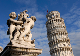 Pictures of Europe Wall Art as Canvas, Acrylic or Metal Print italy, tuscany, pisa, leaning tower and statue                              ...