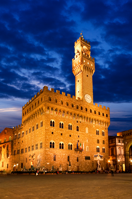 City pictures Wall Art as Canvas, Acrylic or Metal Print Palazzo vecchio at night