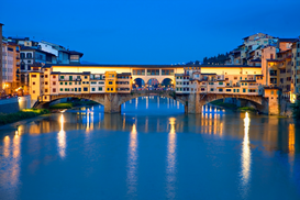 Pictures of Europe Wall Art as Canvas, Acrylic or Metal Print Ponte vecchio at night in Florence