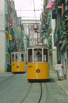 Pictures of Europe Wall Art as Canvas, Acrylic or Metal Print Portugal: Elevador da Bica in Lissabon