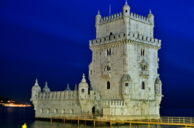 City pictures Wall Art as Canvas, Acrylic or Metal Print Portugal - Torre de Belém bei Nacht