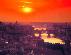 Pictures of Europe Wall Art as Canvas, Acrylic or Metal Print Sonnenuntergang über Florenz, Firenze, Toskana, Italien
