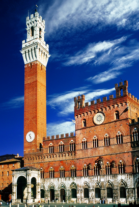 Europa Imágenes p.ej., como imagen en lienzo o para la pared en metacrilato: THE PALAZZO PUBBLICO AND THE PIAZZA DEL CAMPO AT SIENA TUSCANY ITALY