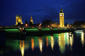 Londra Immagini ad esempio come immagine su tela o a muro dietro vetro acrilico: uk, england, london: big ben and westminster bridge at night