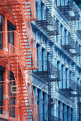 New York pictures Wall Art as Canvas, Acrylic or Metal Print fire escape in Soho New-York city USA