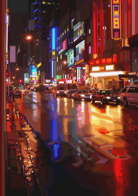 Affiches New york pour les toiles ou images murales sous acrylique par exemple NACHT IN NEW YORK II