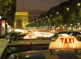 Paris pictures Wall Art as Canvas, Acrylic or Metal Print europe, france, paris, taxicabs on champs elysées