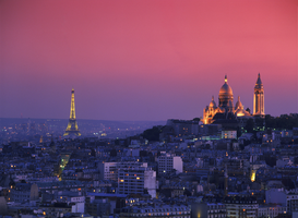 Paris pictures Wall Art as Canvas, Acrylic or Metal Print france, paris: cityscape with sacre coeur and eiffel tower at dusk