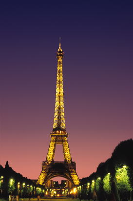 Parijs Foto's bijv. als canvasfoto of wandfoto achter acrylglas: france, paris: the eiffel tower at night