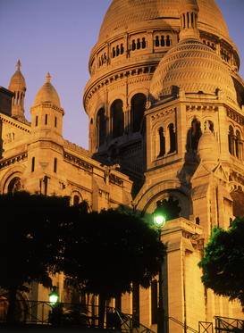 Parijs Foto's bijv. als canvasfoto of wandfoto achter acrylglas: france, sacre coeur on montmarte in paris at night