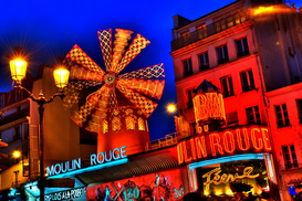 City pictures Wall Art as Canvas, Acrylic or Metal Print Moulin Rouge bei Nacht, Paris, Frankreich - Moulin Rouge at night, Paris, France