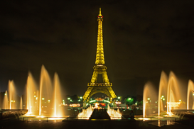 Paris pictures Wall Art as Canvas, Acrylic or Metal Print Night shot of The Eiffel Tower