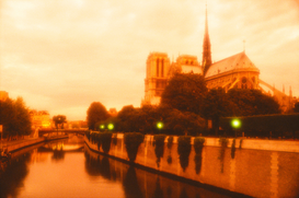 Parijs Foto's bijv. als canvasfoto of wandfoto achter acrylglas: Notre Dame Cathedral along the Seine River, Paris, France.