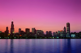 USA Bilder z.B als Leinwandbild oder Wandbild hinter Acrylglas: Chicago skyline at dusk, Illiis, USA