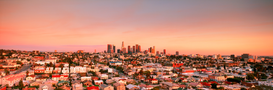 USA Foto's bijv. als canvasfoto of wandfoto achter acrylglas: Downtown Los Angeles skyline over East Los Angeles suburbs at sunset