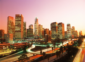 USA Foto's bijv. als canvasfoto of wandfoto achter acrylglas: usa, california, los angeles, downtown with freeways
