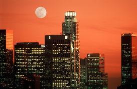 USA Bilder z.B als Leinwandbild oder Wandbild hinter Acrylglas: usa, california, los angeles. skyline and full moon over office buildings