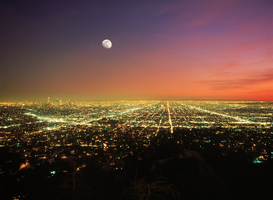 Pictures of America Wall Art as Canvas, Acrylic or Metal Print Vollmond über Los Angeles