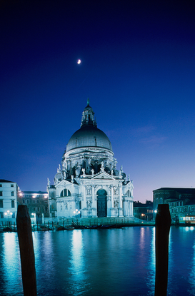 Venice pictures Wall Art as Canvas, Acrylic or Metal Print italy, veneto, venice, santa maria della salute at night