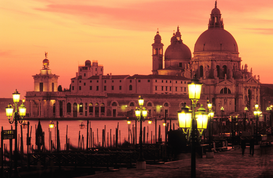 Venice pictures Wall Art as Canvas, Acrylic or Metal Print Italy, Venice. Santa Maria della Salute illuminated at dusk