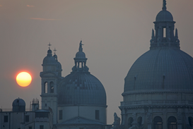 City pictures Wall Art as Canvas, Acrylic or Metal Print Venedig, Kirche, Santa Maria della Salute, Sonnenuntergang