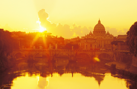 Foto: Europa - italy, rome, view of the vatican with saint peter's basilica and ponte vittorio emmanuel ii and tiber river at sunset