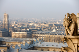 Foto: Parijs - Notre Dame de Paris cathedral gargoyle and Right Bank of the Seine river