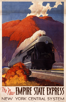 Affiches chemins de fer pour les toiles ou images murales sous acrylique par exemple New Empire State Express train