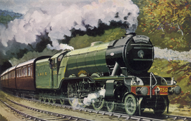 Affiches chemins de fer pour les toiles ou images murales sous acrylique par exemple THE FLYING SCOTSMAN