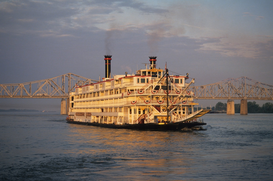 Affiches marine pour les toiles ou images murales sous acrylique par exemple Cruise Boat steamboat, the mississippi queen
