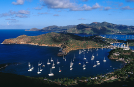 Boat pictures Wall Art as Canvas, Acrylic or Metal Print Overview of English Harbour from Shirley Heights.