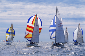 Boat pictures Wall Art as Canvas, Acrylic or Metal Print sailboats racing in baltic sea