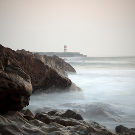 Seascapes Wall Art as Canvas, Acrylic or Metal Print Rocky coastline at dusk